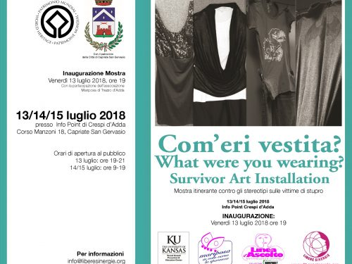 """A Crespi d'Adda (BG) la Mostra """"Com'eri vestita?"""" What were you wearing?"""