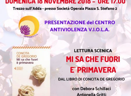 18 NOVEMBRE presentazione Centro Antiviolenza V.I.O.L.A. con Lettura Scenica