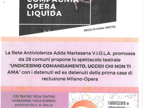 """29 NOVEMBRE teatro a Cassano d'Adda  """"UCCIDI CHI NON TI AMA"""""""