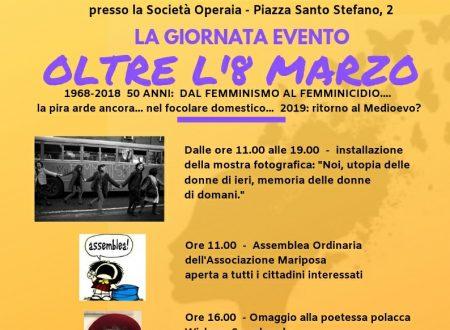 """""""OLTRE L'8 MARZO"""" La nostra """"giornata evento"""" Domenica 17 marzo 2019"""