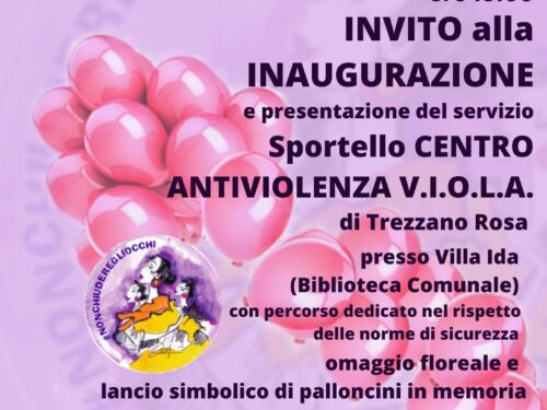 Sabato 29 maggio – Inaugurazione sportello Antiviolenza V.I.O.L.A. a Trezzano Rosa (MI)