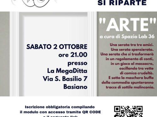 #ARTE  (spettacolo teatrale del progetto ESERCIZI DI CITTADINANZA) – Sabato 2 ottobre a Basiano (MI)