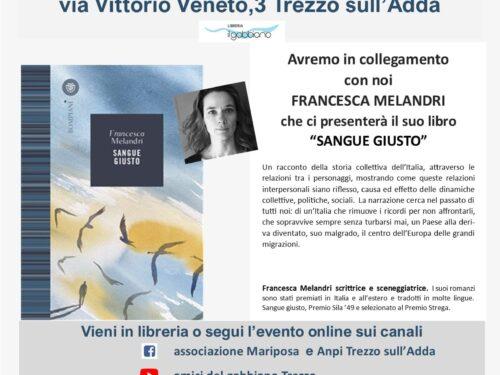 """""""SANGUE GIUSTO"""" presentazione del libro di FRANCESCA MELANDRI – Giovedì 7 Ottobre ore 18.00"""